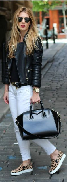 Edge up your white denim with a black moto jacket. Girl's night out approved!