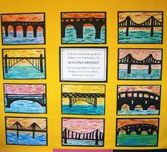 Art with Mrs Baker: Watercolour Bridge Silhouettes - PintoPin Spring Art Projects, School Art Projects, Art Education Projects, First Grade Art, Grade 3 Art, Bridge Painting, Jr Art, Art Lessons Elementary, Middle School Art