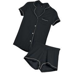 Cosabella BELLA SHORTSLEEVE & BOXER PJ SET ($122) ❤ liked on Polyvore featuring intimates, sleepwear, pajamas, cosabella pajamas, short pajama set, cosabella pjs, short sleeve pajama set and button up pajamas