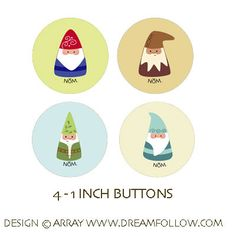 gnome NOMs buttons by littledear on Etsy Woodland Party, Woodland Theme, Gnome Door, Elves And Fairies, Fairy Doors, Christmas Gnome, Gnome Garden, People Art, Doodle Drawings