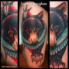 Circus bear tattoo by Sophia Baughan