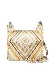 L0M6F Valentino Rockstud Geometric Striped Shoulder Bag, Multi