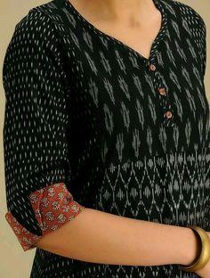 Best 11 Ivory-Grey Handloom Ikat Cotton Dress with Pockets – SkillOfKing. Salwar Neck Patterns, Salwar Pattern, Salwar Neck Designs, Churidar Designs, Kurta Neck Design, Kurta Designs Women, Dress Neck Designs, Sleeve Designs, Blouse Designs