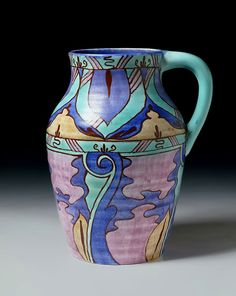 'Lotus' shape earthenware jug in 'Inspiration Persian' pattern, designed by Clarice Cliff, made by Newport Pottery Co. Clarice Cliff, Ceramic Pottery, Pottery Art, Painted Pottery, Roseville Pottery, Victoria And Albert Museum, Vintage Pottery, Ceramic Artists, Vintage China