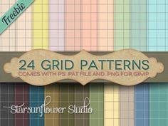 Free 24 Grid Patterns for Photoshop & Gimp #freebies