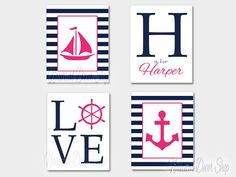 Nautical Nursery Girl, Baby Girl Nautical,Personalized Name Print Sailboat Anchor Ship Wheel, Navy Pink, Stripe Home Decor Set of Four 8x10