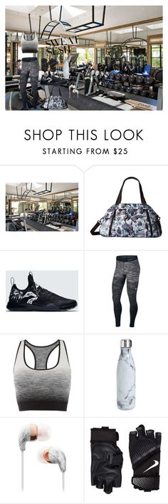 """""""Gym rat"""" by aundreathecuban ❤ liked on Polyvore featuring NIKE, Pepper & Mayne and S'well"""