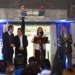 Lucía Corpacci en la inauguración de la nueva sede del SATSAID
