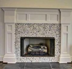 Java Tan pebble tile fireplace