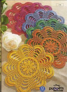 Colorful round doilies Ivelise Feito à Mão: Centrinho De Crochê!