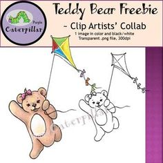 Teddy Bear with Kite Clip Art - Free Digital Papers, Kite, Fonts, Frames, Teddy Bear, Clip Art, Graphics, Artists, Lettering