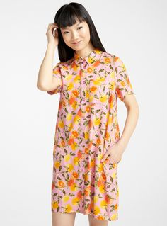 Eco-friendly viscose vibrant print dress | Simons | Rock the perfect summery colours and prints!Soft and fluid LENZING™ ECOVERO™ viscose jersey made from certified renewable wood produced using an eco-friendly process. #simons #simonsexclusive #twik #dress #womenstrends #womensfashion #fashion #womensStyle #ecofriendly #ethical Eco Friendly, Vibrant, Cold Shoulder Dress, High Neck Dress, Colours, Rock, Clothes For Women, Womens Fashion, Prints