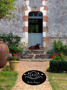 Figaro guarding the steps at le Moulin Bregeon Water Mill, Le Moulin, Garden Landscaping, Paths, Outdoor Living, Living Spaces, Restoration, Gardens, France