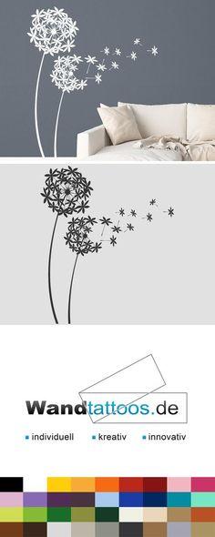 Wandtattoo Dekorative Pusteblumen als Idee zur individuellen Wandgestaltung. Einfach Lieblingsfarbe und Größe auswählen. Weitere kreative Anregungen von Wandtattoos.de hier entdecken!