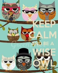 KEEP CALM AND BE A WISE OWL - by JMKv this is so my sisters 1st grade teacher