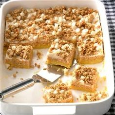Sweet Potato Cheesecake Bars Recipe -Your whole house will be filled with the aroma of pumpkin spice when you bake these wonderful sweet potato cheesecake bars. They look complicated but are so easy, you can whip up a batch anytime. —Nancy Whitford, Edwards, New York