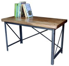 Cast aside your laptop and bring out the typewriter! [or don't] This industrial work desk is - like all our items - handmade and designed to be bombproof. Using French Oak sleepers, 3mm thick mild steel and industrial grade bolts and fixings, we ensure that whether you need a place to park a tank or perhaps just a sturdy table to work on, this unit is up to the task.