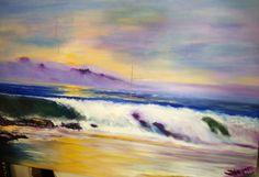 Tormenta en horizonte sobre marina. Pintura al óleo.