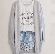 Crop Top, High Waisted Studded Shorts, And Grey Cardigan