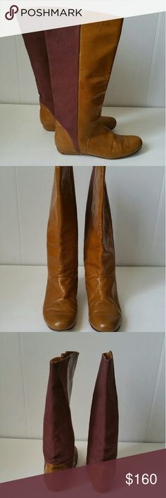 """Must have boots! Gorgeous cracked caramel and Merlot colored boots. 15"""" high (upper calf level), 9.5"""" length, 3.5"""" widest width. Rachel Comey Shoes"""