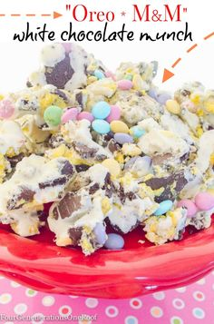 Amazing White Chocolate Oreo M&M bark munch by Four Generations One Roof