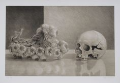 Edgar Soberon Skull with Garland Lithograph  22 x 30 in 2013