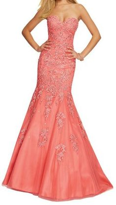 Lovelybride Elegant Sweetheart Appliques Mermaid Prom Dress Formal Evening Gowns
