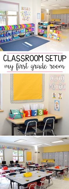 See how this first grade teacher set up her classroom. You can see her classroom decor and get ideas for layout and organization for the elementary class!