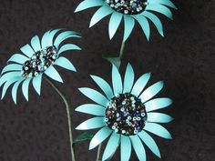 Metal Flowers Turqoise BlueTrio of Daisies by NoWaterNeeded, $10.00