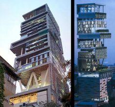 Antilla, Mumbai en India: La residencia más cara del mundo, tuvo un costo de construcción de 2 mil 530 millones de dólares. Fue edificado en Bombay, gracias al pago del magnate Mukesh Ambani, quien lo mandó construir para él y su familia.