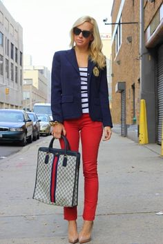 red pants. navy blazer - but with my boots for winter. LOVE