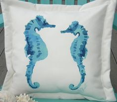 Hand Painted Pillows   Hand-painted Seahorses In Love Blue Indoor & Outdoor Pillow: Beach ...