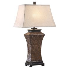 Put some personality in your lighting when you display the Crestview Collection Banbury Rectangle Bell Table Lamp . This unique lighting fixture is made. Study Room Decor, Crestview Collection, Crackle Painting, Bedside Lamp, Unique Lighting, Brown Wood, Accent Furniture, Light Fixtures, Bulb