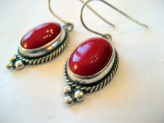Sterling and Red Coral Drop Earrings by sparklinglotusdesign, $22.00