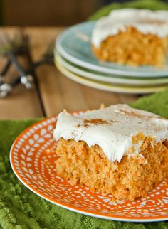 Easy and delicious carrot cake bars, lightened up with applesauce.