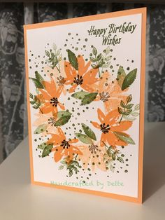 Birthday card using Advant Garden stamp set from Stampin Up. Made by Bernadette Maroun. Handcrafted by Dette. Peekaboo peach, birthday, wreath, flowers.
