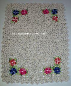"""Crochet et Tricot da Mamis: Tapete Labirinto """"Flores nos 4 cantos""""-Passo a passo"""