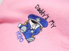 Baby Blanket LEO Police Pink Fleece Handmade by arizonathreads