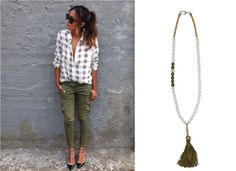 White long-sleeve top and olive pants cannot survive without a silent bond... Shop online Silent Bond necklace.