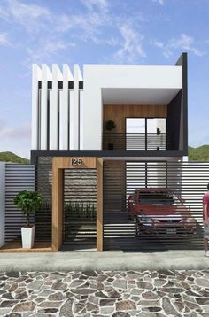 ideas for exterior architecture facade balconies Modern Small House Design, Modern Minimalist House, House Front Design, Tiny House Design, Modern Design, Modern Exterior, Exterior Design, Cafe Exterior, Bungalow Exterior