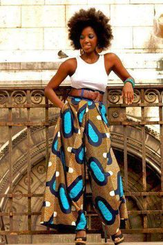Afro-centric styles look with African patterned wide pant