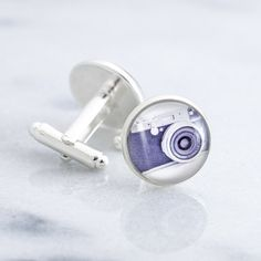Camera cufflinks - silver cufflinks featuring a miniature photography print of a vintage style camera