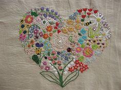embroidered heart sampler