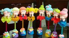 Canetas decoradas em biscuit