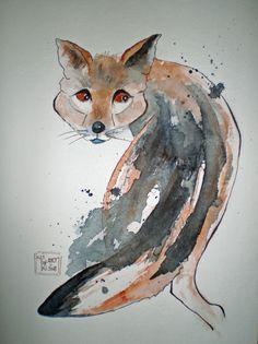 Füchslein, Tusche-Aquarell Moose Art, Teacher, Watercolor, Painting, Animals, Watercolor Painting, Painting Art, Animales, Professor