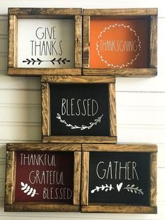Rae Dunn Inspired Fall and Thanksgiving wooden framed signs. Hello Fall Pumpkin Spice Autumn Leaves Harvest Blessed Gather Give Thanks Fall Wood Signs, Fall Signs, Wooden Signs, Wooden Frames, Fall Decor Signs, Holiday Signs, Wooden Decor, Thanksgiving Signs, Thanksgiving Decorations