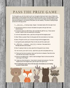 Printable Woodland Animal Pass The Prize Baby Shower Game - Print It Baby
