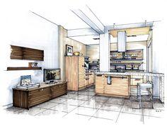 hand rendering mick ricereto interior interior design kitchen sketch ...