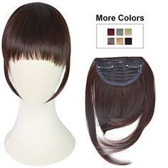 REECHO Fashion One Piece Clip in Hair Bangs / Fringe / Hair Extensions Color: Dark Brown: Length of hair extensions: the middle: long, the both sides: long,br Packing x clip in hair bangsbr Weight of hair: gramsbr Width: inches Fringe Hairstyles, Hairstyles With Bangs, Mega Hair Tic Tac, Hair Puff, Makeup Essentials, How To Make Hair, Hair Pieces, Hair Hacks, Lace Wigs