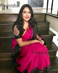 Dr Anitha in customized organza hand work blouse . Thanks dear for sharing the pic. Pattu Saree Blouse Designs, Blouse Designs Silk, Designer Blouse Patterns, Bridal Blouse Designs, Hand Work Blouse Design, Simple Blouse Designs, Blouse Designs Catalogue, Ethnic Sarees, Indian Sarees